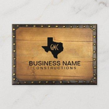 texas monogram logo vintage leather & wood business card