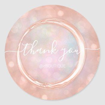 thank boutique shop business name rose holograph classic round sticker