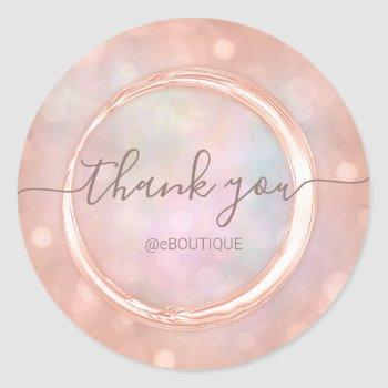 thank boutique shop business name rose holographic classic round sticker