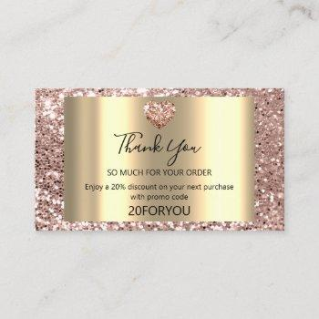 thank for purchase heart discount code logo vip business card