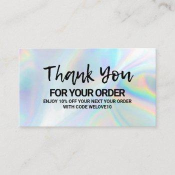 thank you elegant holographic instagram discount business card