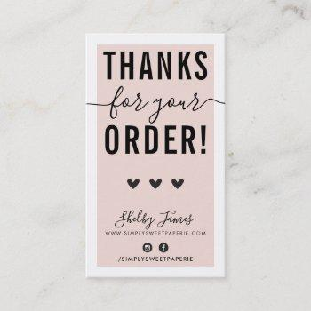 thank you for your order insert pink black