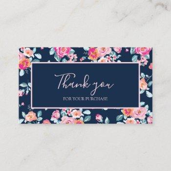 thank you for your purchase pink roses floral business card