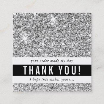 thank you modern simple glam luxe silver glitter square business card