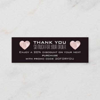 thank you poshmark instag discount code heart pink mini business card