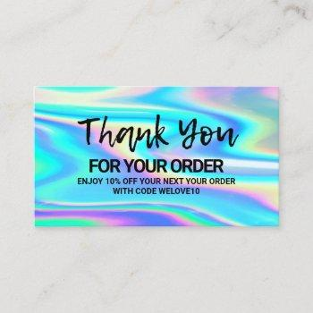 thank you trendy color holo instagram discount business card