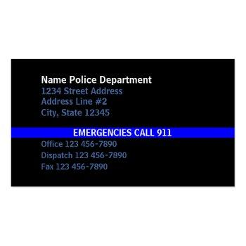 Small Thin Blue Line American Flag Contact Business Card Back View
