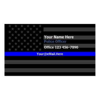 Small Thin Blue Line American Flag Contact Business Card Front View