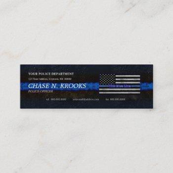 thin blue line flag police officer mini business card