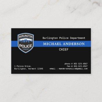 thin blue line law enforcement custom logo police  business card