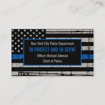 thin blue line law enforcement department police business card