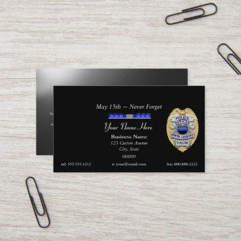 thin blue line police badge and light bar business card