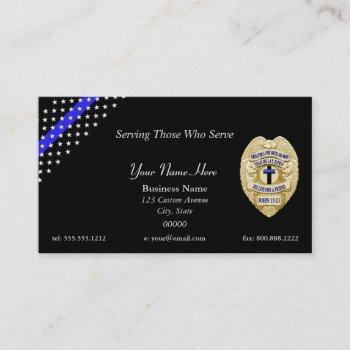 thin blue line police chapla badge business card