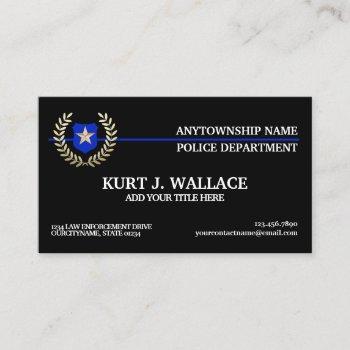 thin blue line police flag custom business card