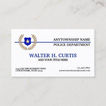 thin blue line police flag custom business card