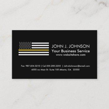 thin gold line dispatcher american flag business card