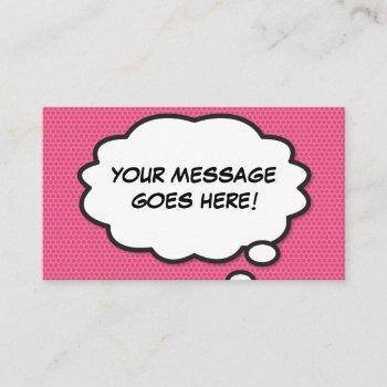 think bubble fun retro comic book pink business card