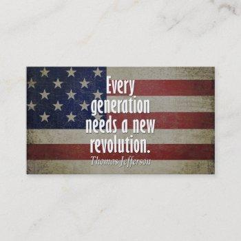 thomas jefferson quote on revolution business card