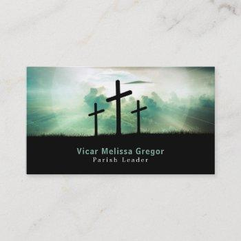 three crosses, christianity, religious business card