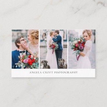 three photo collage photographer business card