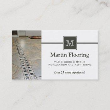 tile flooring custom monogram business card