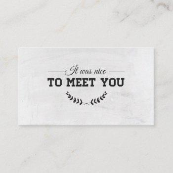 to meet you white business card