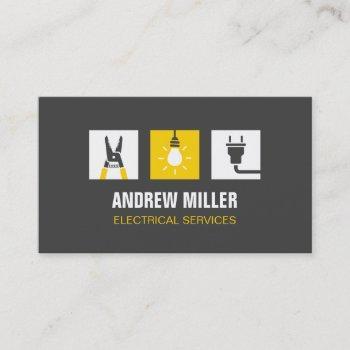 tool light bulb and plug logo electrician business card