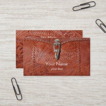 tooled leather business card
