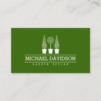 topiary trio gardener landscaping green/white business card