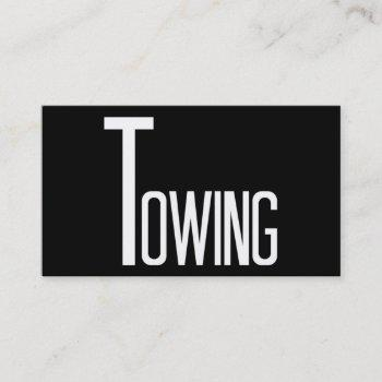 towing black and white business card
