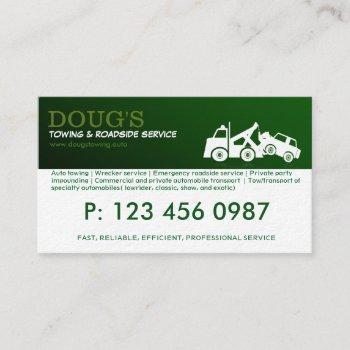towing roadside wrecker service business card