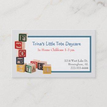 toy blocks daycare business card