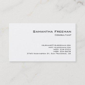 traditional clean plain white minimalist business card