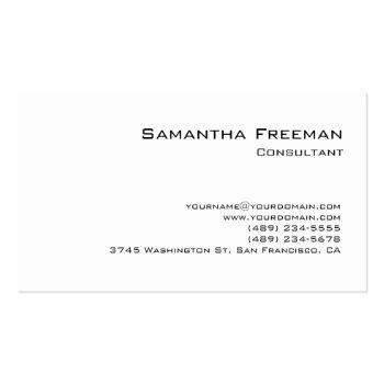 Small Traditional Clean Plain White Minimalist Business Card Front View