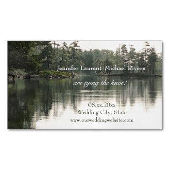 tranquil rustic lake evergreens reflection wedding magnetic business card