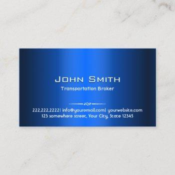 transportation broker modern blue metal business card