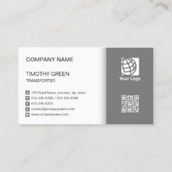 transporter logistics service simple violet white business card
