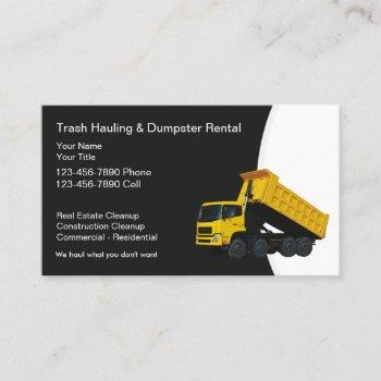 trash hauling and dumpster rental business cards