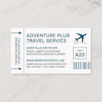 travel agent destination planner boarding pass business card