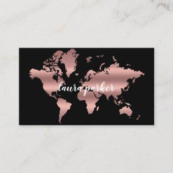 travel agent faux rose gold world map destination business card