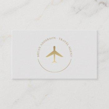travel agent gold airplane logo business card