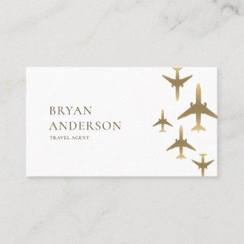 travel agent gold airplanes business card