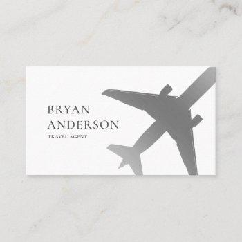 travel agent silver airplane business card