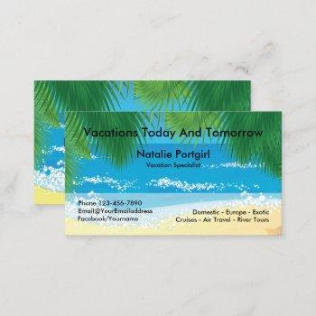 travel agent specialist tropical theme business card