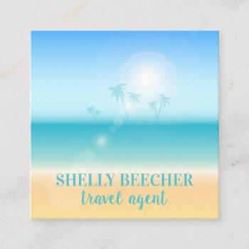 travel agent tropical beach vacation square business card