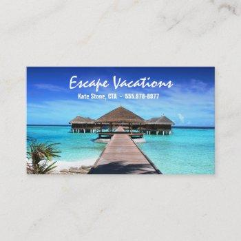 travel agent, vacation, tropical, worldwide business card