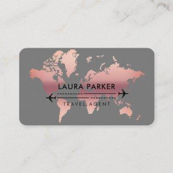 travel agent world map vacation rose gold business card
