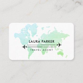 travel agent world map vacation services blue business card