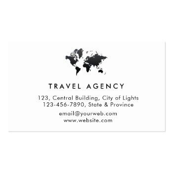 Small Travel Agent World Map Vacation Services Paint Business Card Back View