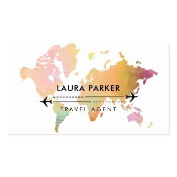 Small Travel Agent World Map Vacation Services Paint Business Card Front View
